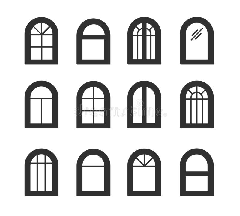 Arched & arch window. Casement & awning window frames. Flat icon set. Vector illustration. Isolated objects. On white background stock illustration