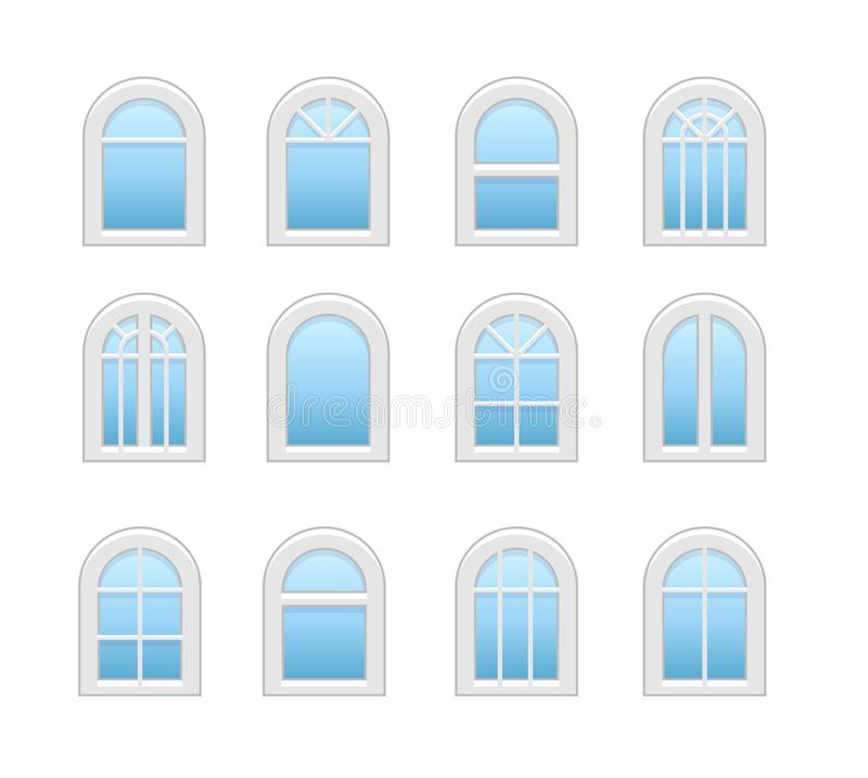 Arched & arch window. Casement & awning window frames. Flat icon set. Vector illustration. Isolated objects. On white background royalty free illustration