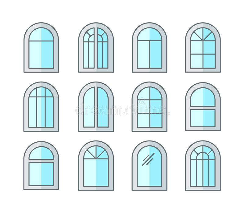 Arched & arch window. Casement & awning window frames. Flat line icon set. Vector illustration. Isolated objects. On white background stock illustration
