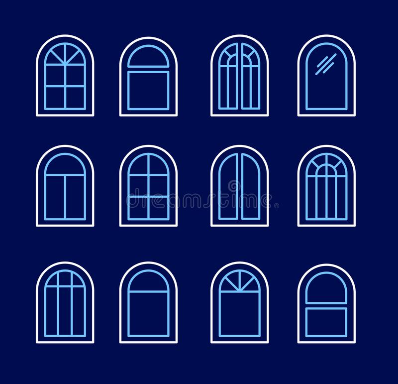 Arched & arch window. Casement & awning window frames. Line icon set. Vector illustration. Isolated objects. On dark background stock illustration