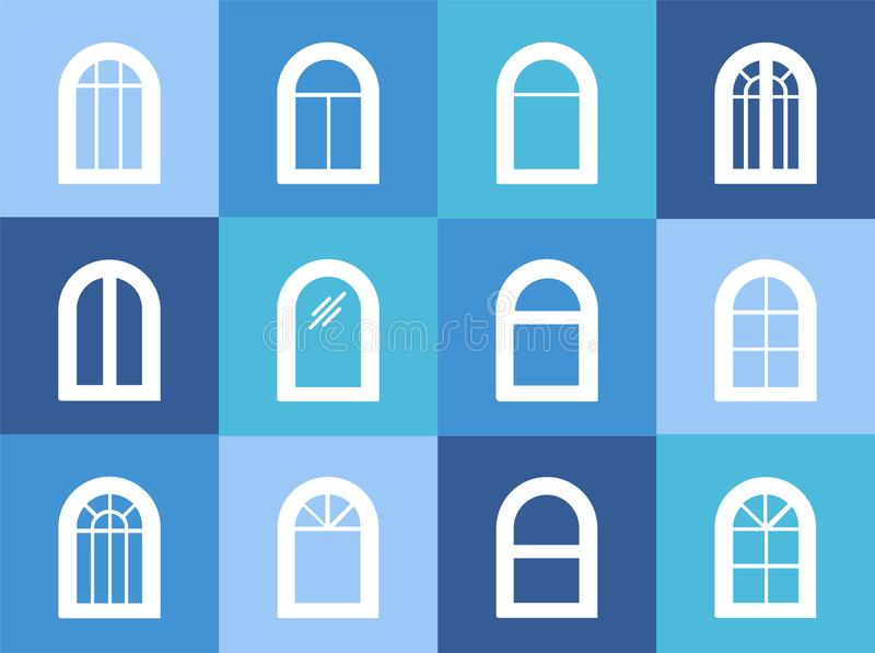 Arched & arch window. Casement & awning window frames. White flat icon set. Vector illustration. Isolated objects royalty free illustration