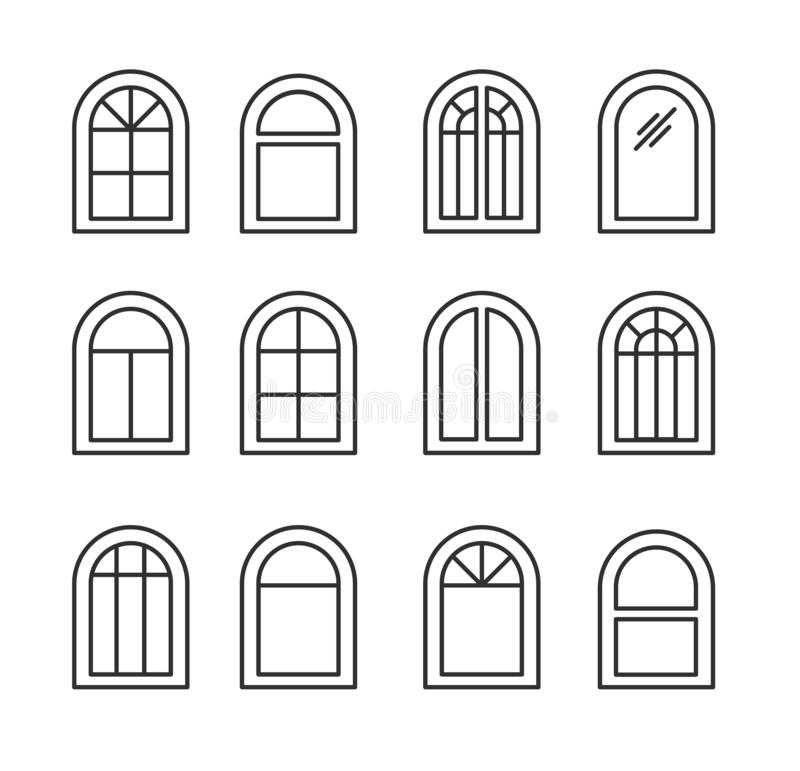 Arched & arch window. Casement & awning window frames. Line icon set. Vector illustration. Isolated objects. On white background stock illustration