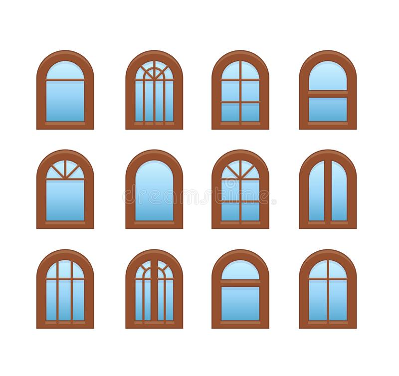 Arched & arch wooden window. Casement & awning window frames. Flat icon set. Vector illustration. Isolated objects. On white background vector illustration