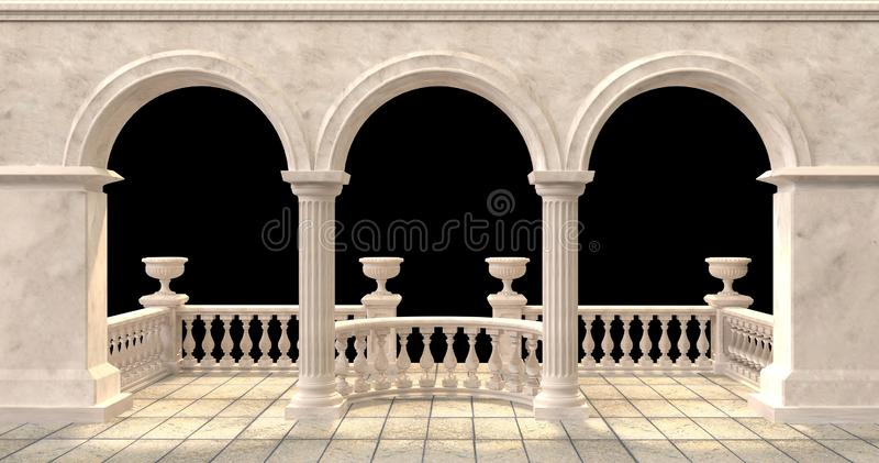Arched balcony with balustrade and flower vases on black background. Illustation 3d rendering royalty free illustration