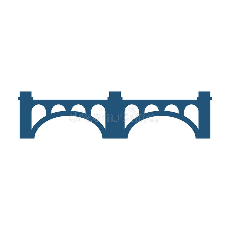Arched bridge with columns silhouette vector illustration icon isolated royalty free illustration