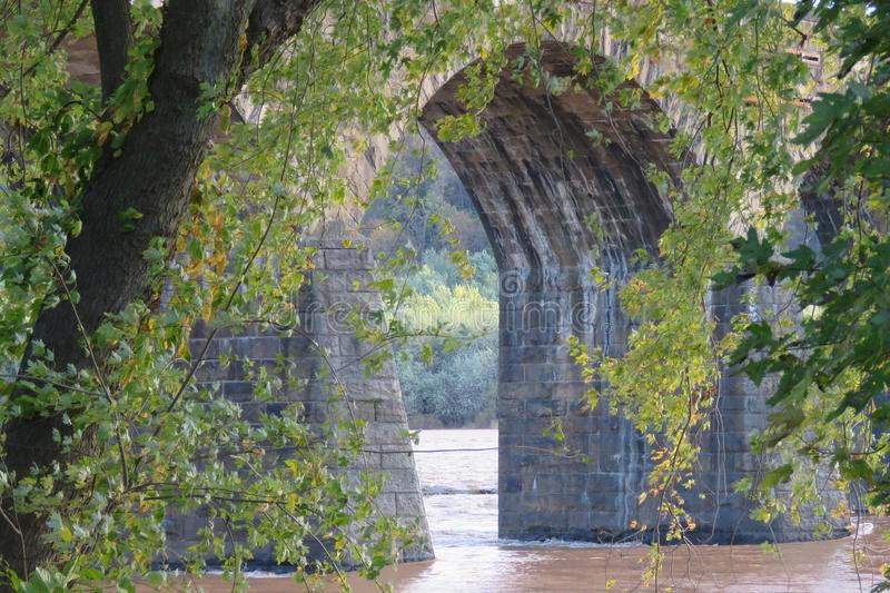 Arched Bridge Over the Susquehanna River in Pennsylvania. Old arched bridge over the Susquehanna River in Marietta, Pennsylvania royalty free stock photography