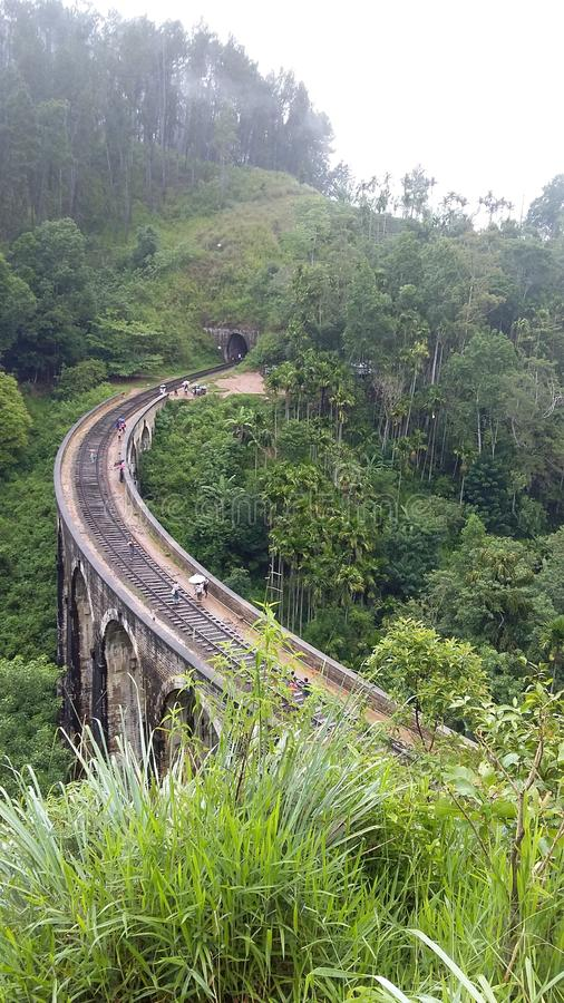 The only arched bridge in srilanka. This arched bridge is bandarawela.this is the oldest arched bridge in sri lanka.This is the railroad track on the bridge stock photography