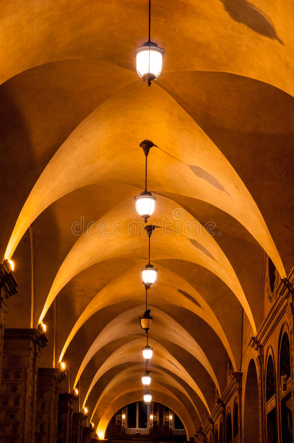 Arched ceiling walkway. Old arched ceiling walway. Church causeway. Bologna city, Italy stock image