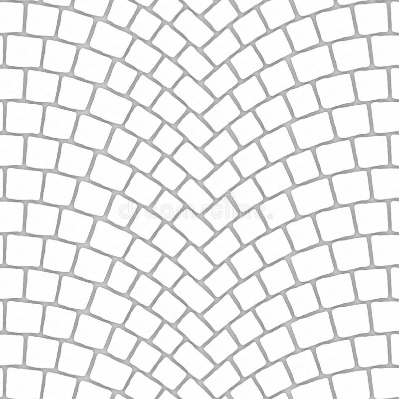 Arched cobblestone pavement texture 000 - ambient map. Cobblestone pavement street with arched pattern. Seamless tileable repeating square 3D rendering ambient stock illustration