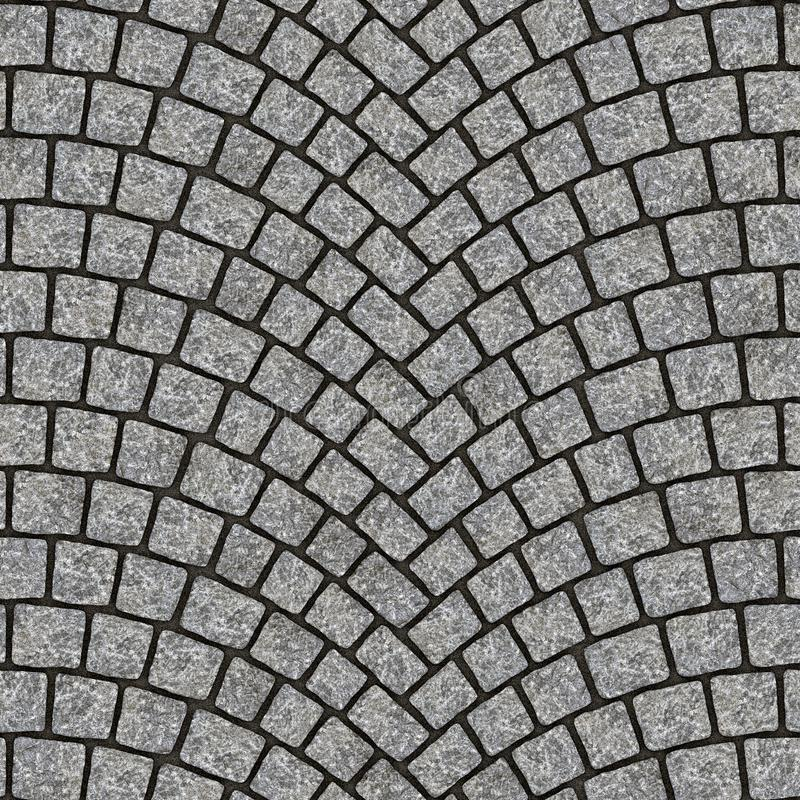 Arched cobblestone pavement texture 012. Cobblestone pavement street with arched pattern. Seamless tileable repeating square 3D rendering texture stock illustration