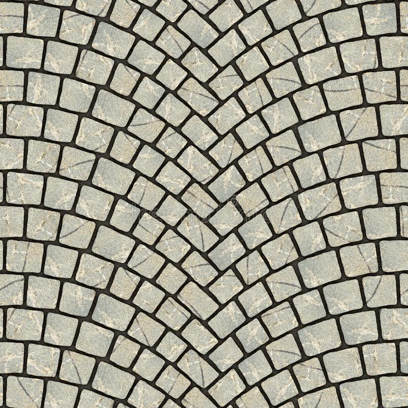 Arched cobblestone pavement texture 020. Cobblestone pavement street with arched pattern. Seamless tileable repeating square 3D rendering texture vector illustration