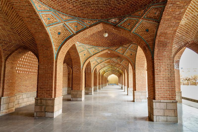 Arched corridor in courtyard of Blue Mosque. Tabriz. East Azerbaijan province. Iran stock image