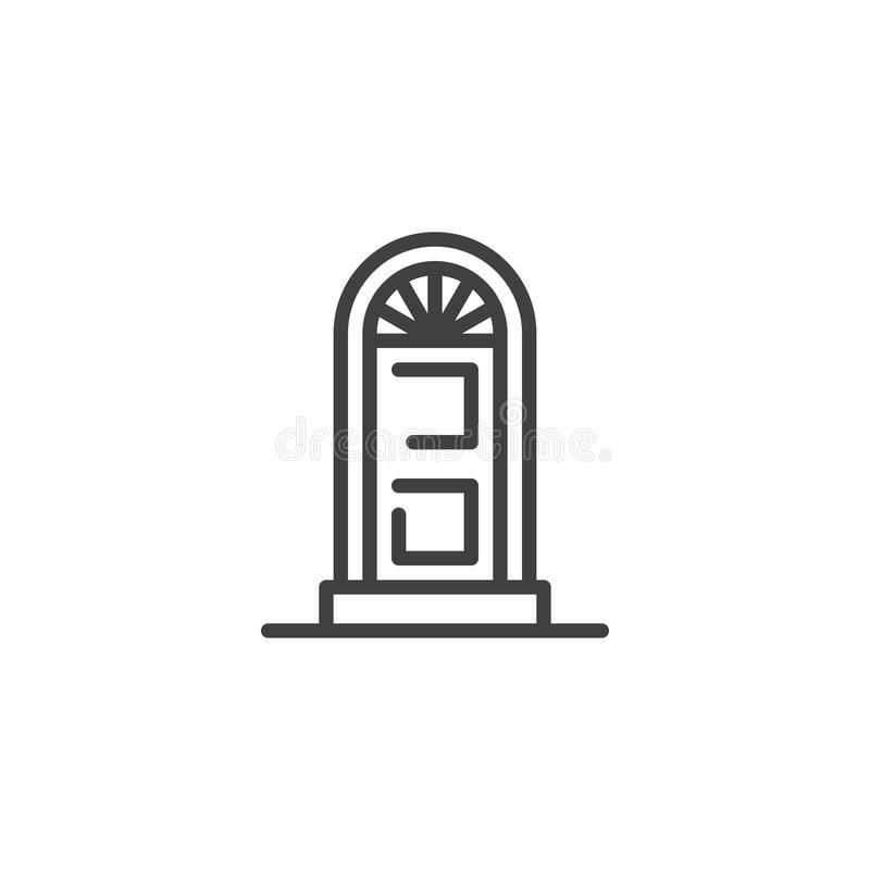 Arched door outline icon. Linear style sign for mobile concept and web design. Home door simple line vector icon. Symbol, logo illustration. Pixel perfect stock illustration