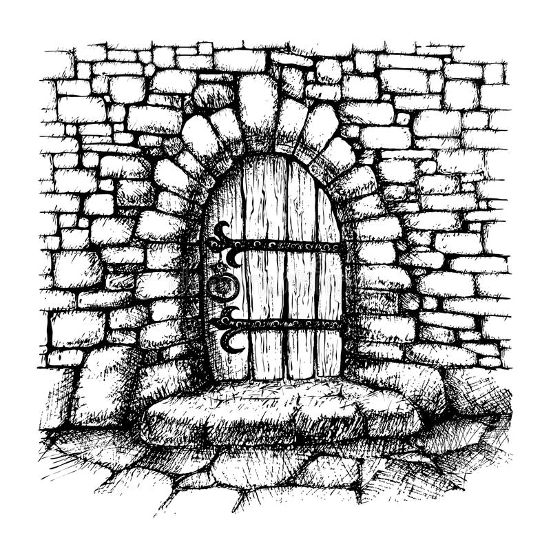Arched door. In a stone wall , scatch, drawing vector illustration
