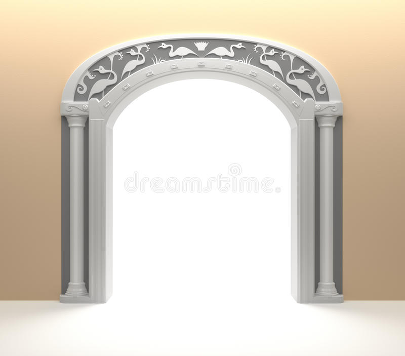 Arched Door with vintage decoration royalty free illustration