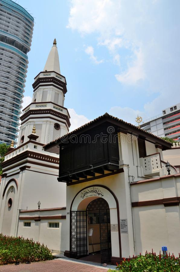 Free Arched Doorway Entrance With Koran Arabic Islamic Prayer And Minaret Hajjah Fatimah Mosque Singapore Royalty Free Stock Image - 128042326
