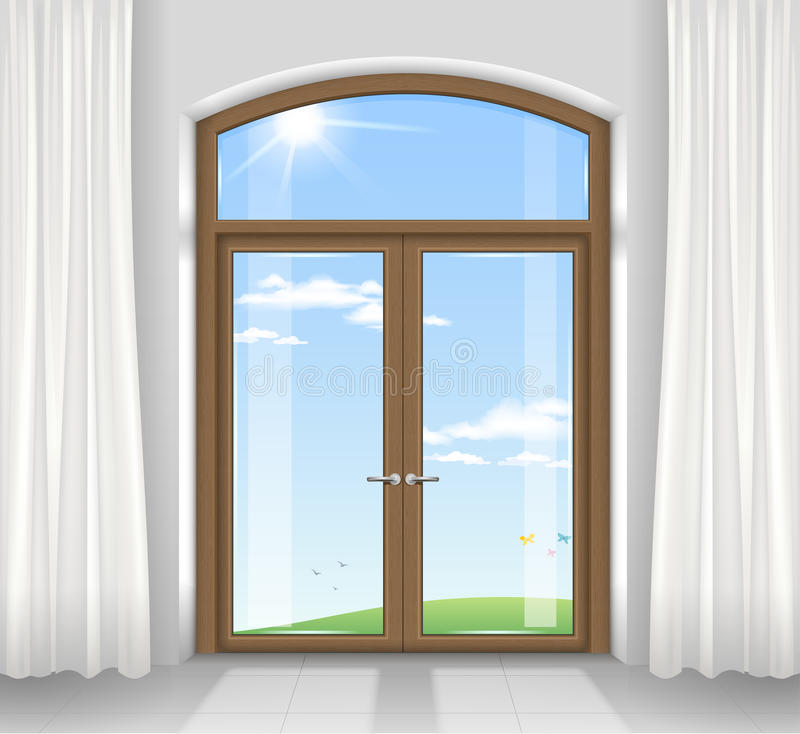 Arched double doors. To the terrace overlooking the beautiful landscape. Transparent glass. Vector graphics royalty free illustration