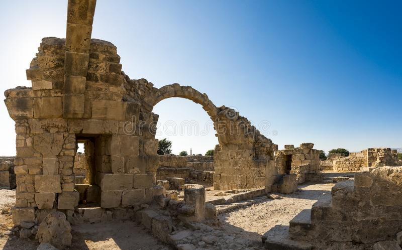 Arched entryways in Saranta Kolones excavated castle ruins in Paphos stock photography