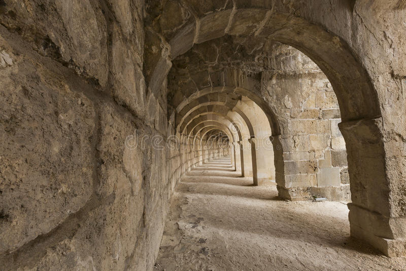 Arched gallery of the Roman theatre of Aspendos, in Antalya, Turkey. royalty free stock image