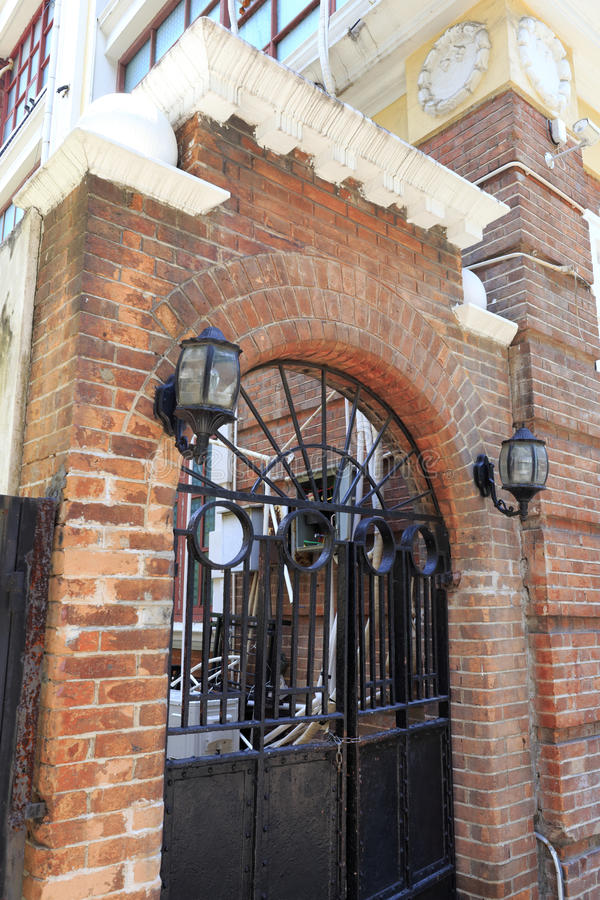 Download Arched Iron Gate And Red Brick Wall Stock Photo - Image of clay door & Arched Iron Gate And Red Brick Wall Stock Photo - Image of clay ...