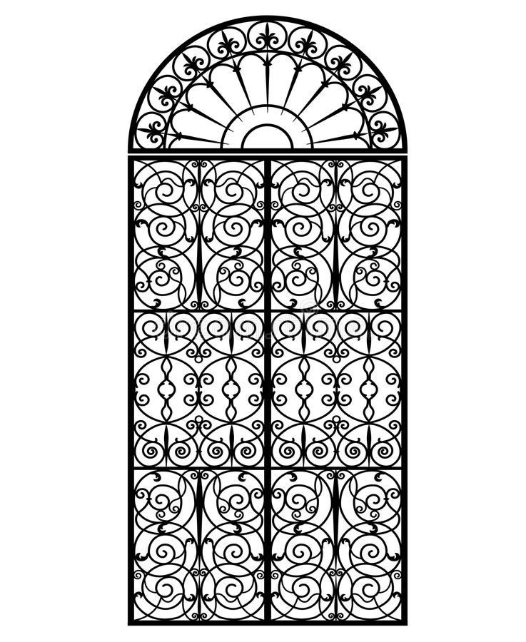 Arched metal gate. With forged ornaments on a white background royalty free illustration