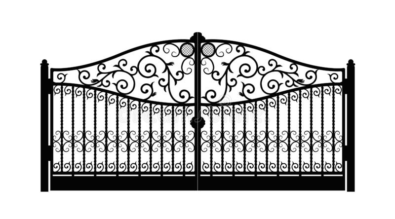 Arched metal gate with forged ornaments on a white background. Beautiful iron ornament gates. vector illustration eps 10 vector illustration