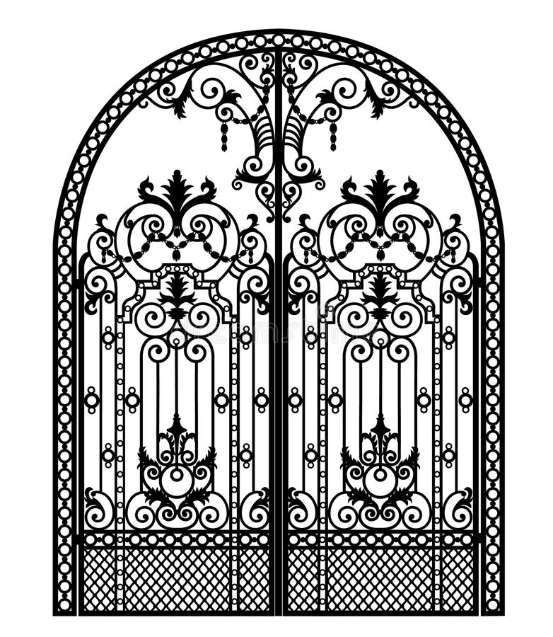 Menal arched gate. Arched metal gate with forged ornaments on a white background stock illustration
