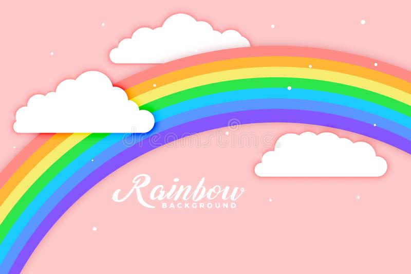 Arched rainbow with cloud pink background. Vector vector illustration