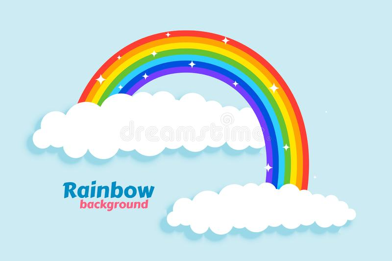 Arched rainbow with clouds background. Vector vector illustration