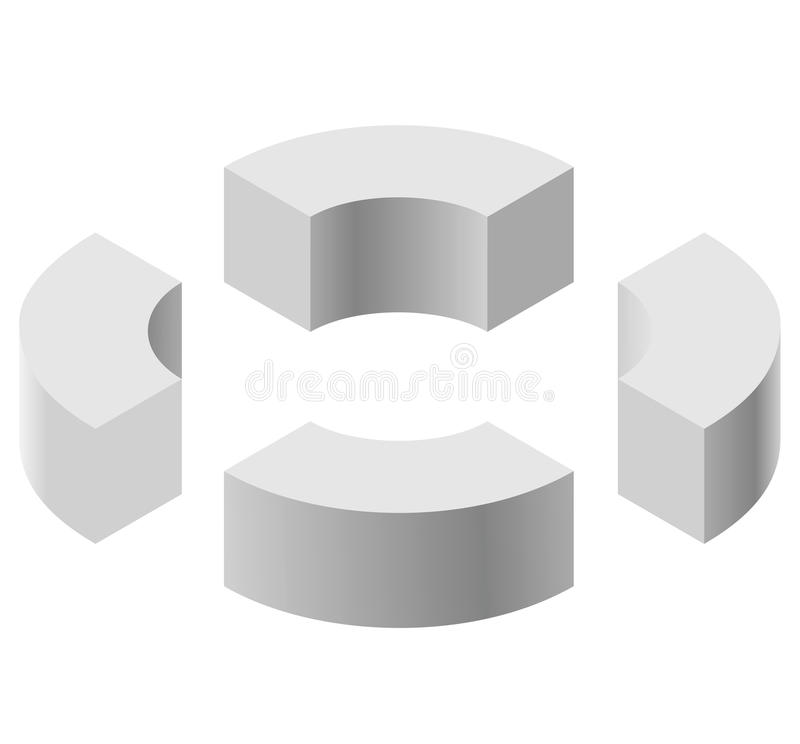 Arched shapes in isometric perspective, isolated on white background. Basic building blocks for creating abstract objects, backgro. Und. Gray three-dimensional vector illustration