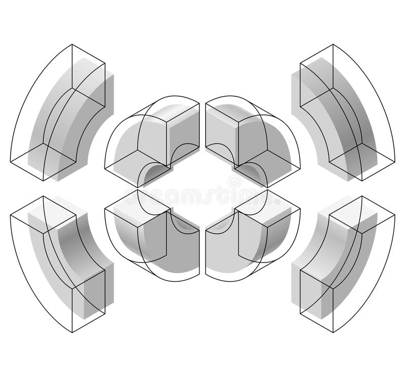 Arched shapes in isometric perspective, isolated on white background. Basic building blocks for creating abstract objects, backgro. Und. Gray three-dimensional stock illustration