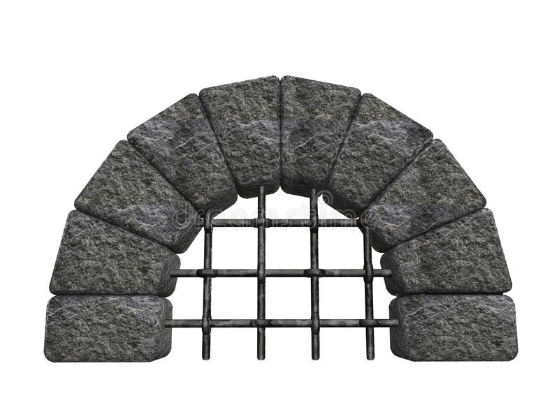 Arched stone entrance. An ancient arched stone entrance to an underground sewer or a dungeon corridor. Isolated on white background stock illustration