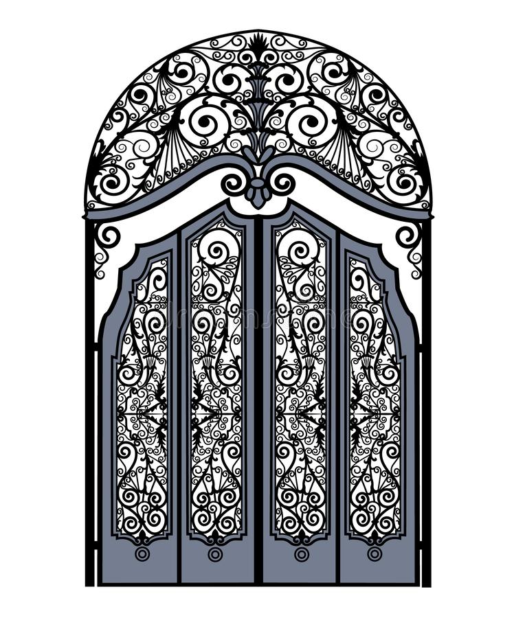 Arched vintage gate. Arched metal gates with wrought iron ornaments on a white background vector illustration