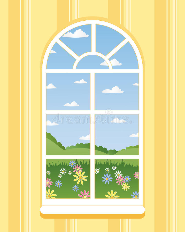 Arched window. An illustration of an arched window in summer with a view across flower meadows stock illustration