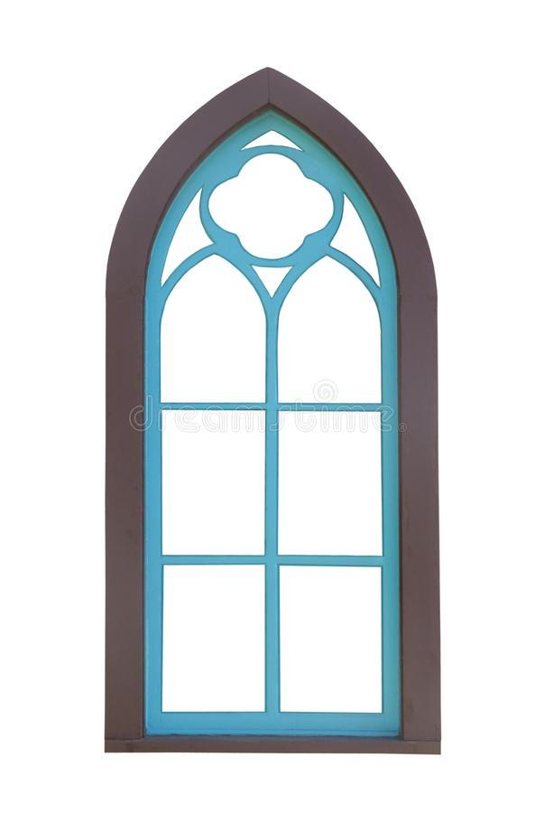 Old Blue Arched Stained Glass Window Stock Photo Image