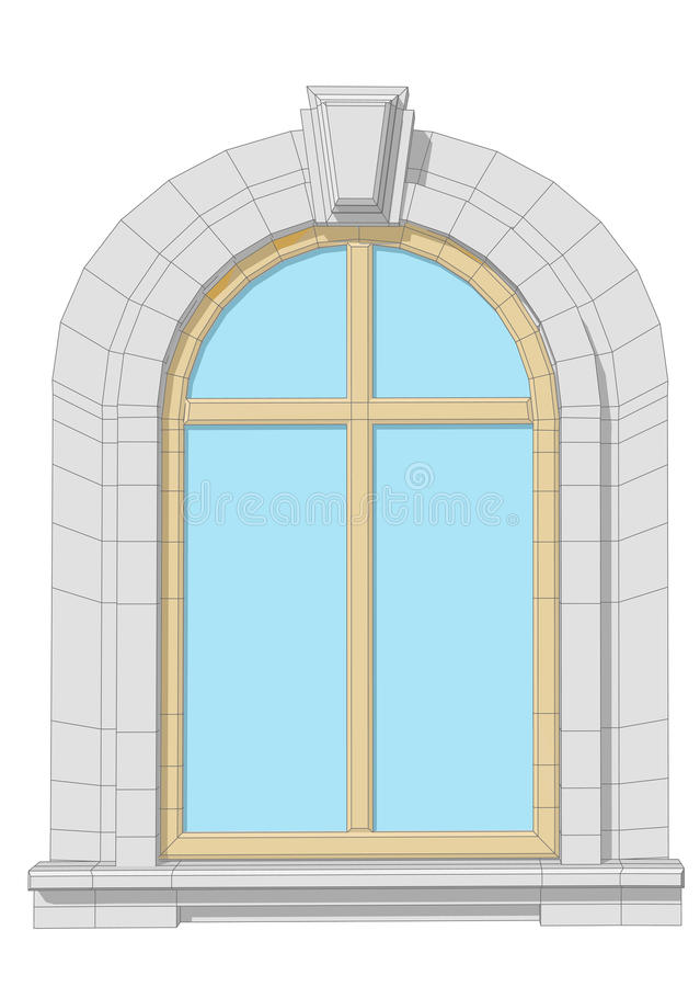 Arched window. Isolated on a white background vector illustration