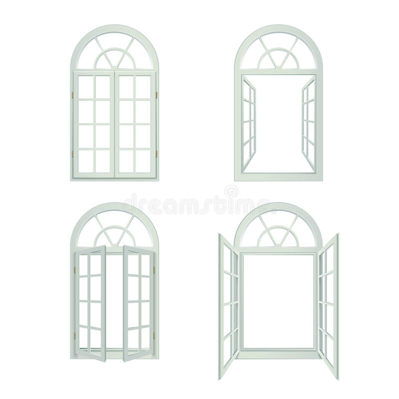 Arched Windows Realistic Set. Arched Windows Icons Set. Arched Windows Vector Illustration.Arched Windows Decorative Set. Arched Windows Design Set. Arched royalty free illustration