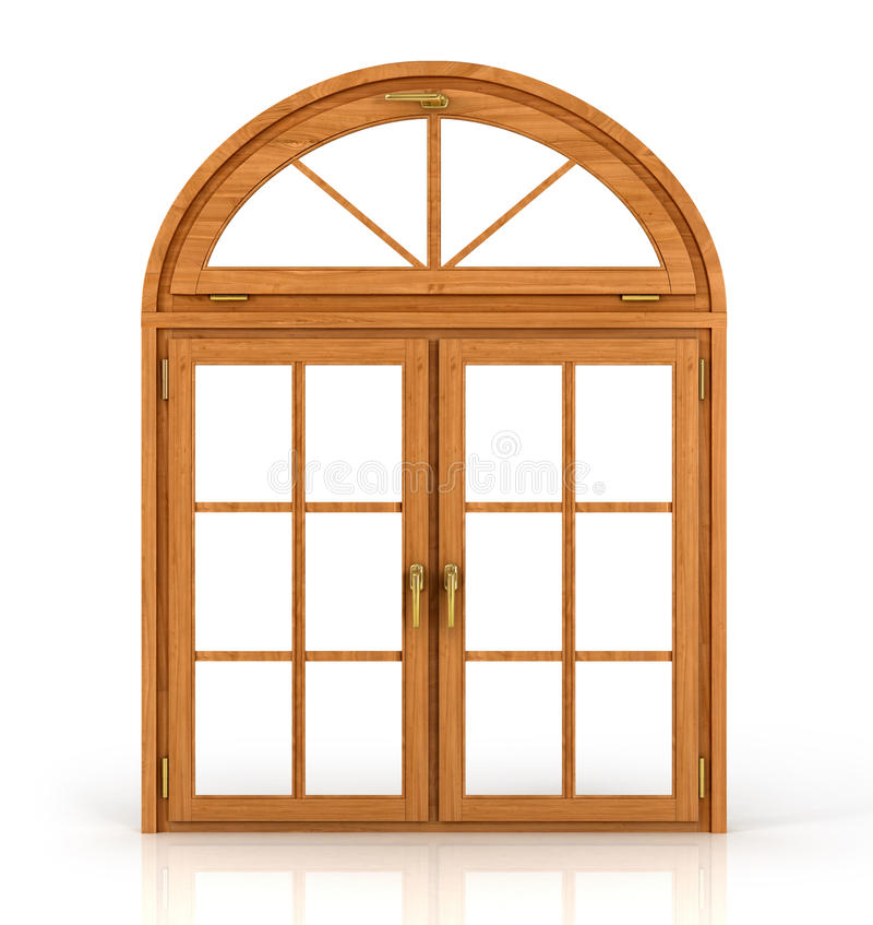 Arched wooden window. Isolated on white background royalty free illustration