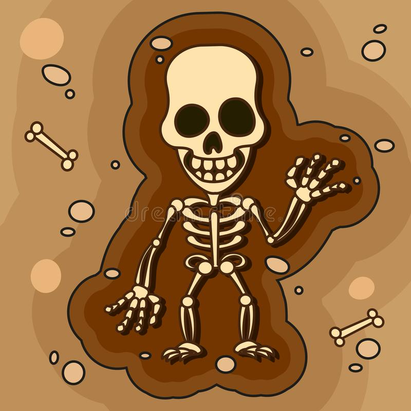 Archeologen, Paleontologen die aan Uitgravingen de werken of graven een Laag van Grond met een Schop en onderzoeken de Gevonden A vector illustratie