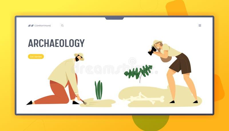 Archeologi, pagina di atterraggio del sito Web di paleontologia, scienziati che lavorano agli scavi, scavando, esploranti illustrazione vettoriale