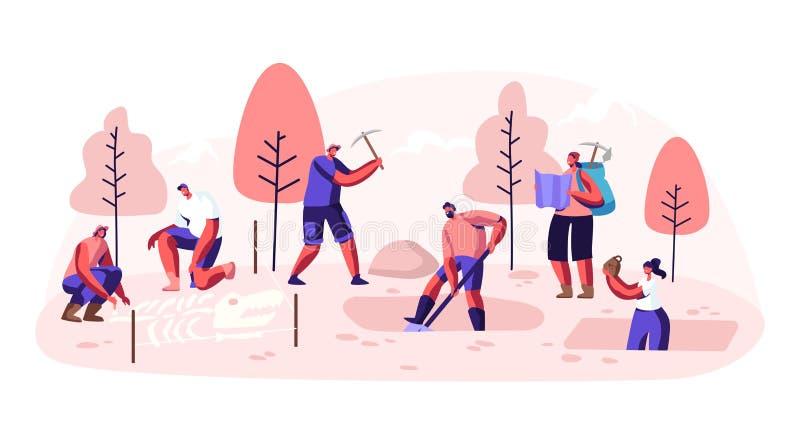 Archeologi, scienziati di paleontologia che lavorano agli scavi o strati di scavatura del suolo con la pala ed i manufatti d'espl illustrazione vettoriale