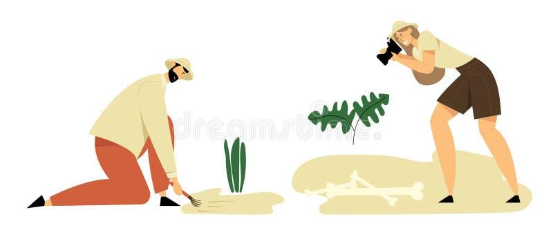 Archeologi, scienziati di paleontologia che lavorano agli scavi, scavanti, esploranti e fotografare i manufatti antichi illustrazione di stock