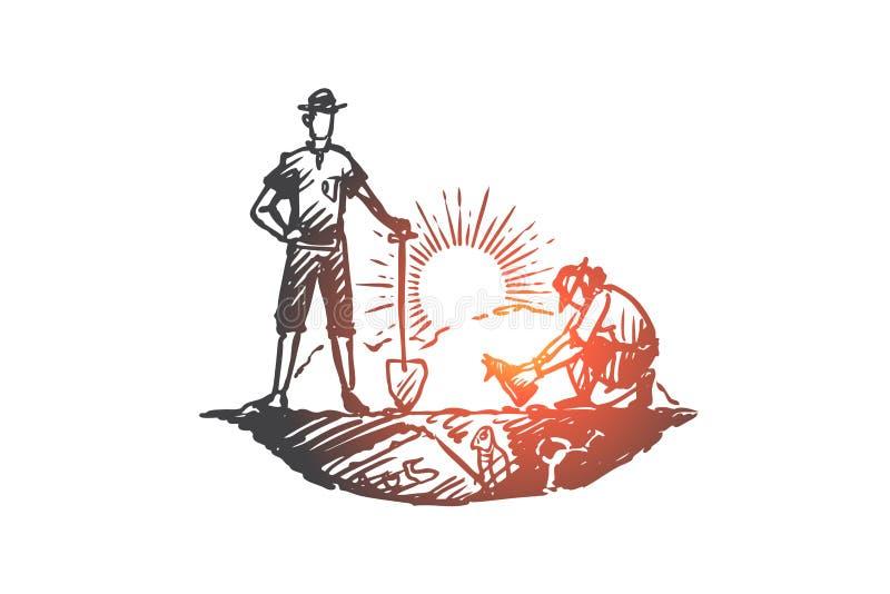 Archeologia, antica, fortuna, manufatti, concetto fossile Vettore isolato disegnato a mano royalty illustrazione gratis