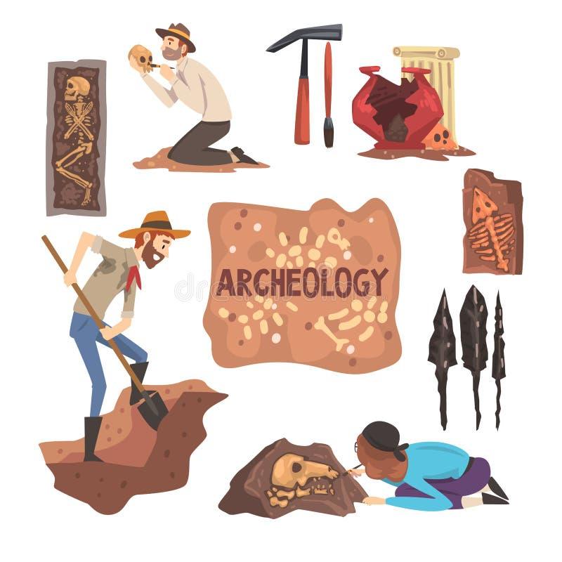 Archeologia ed insieme di paleontologia, scienziato Working sugli scavi, illustrazione archeologica di vettore dei manufatti illustrazione vettoriale