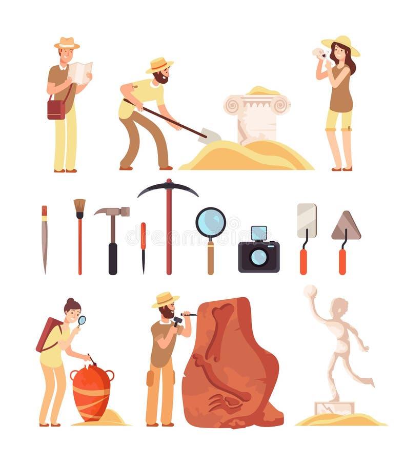 archeologia La gente dell'archeologo, strumenti di paleontologia e manufatti di storia antica Insieme isolato fumetto di vettore illustrazione vettoriale