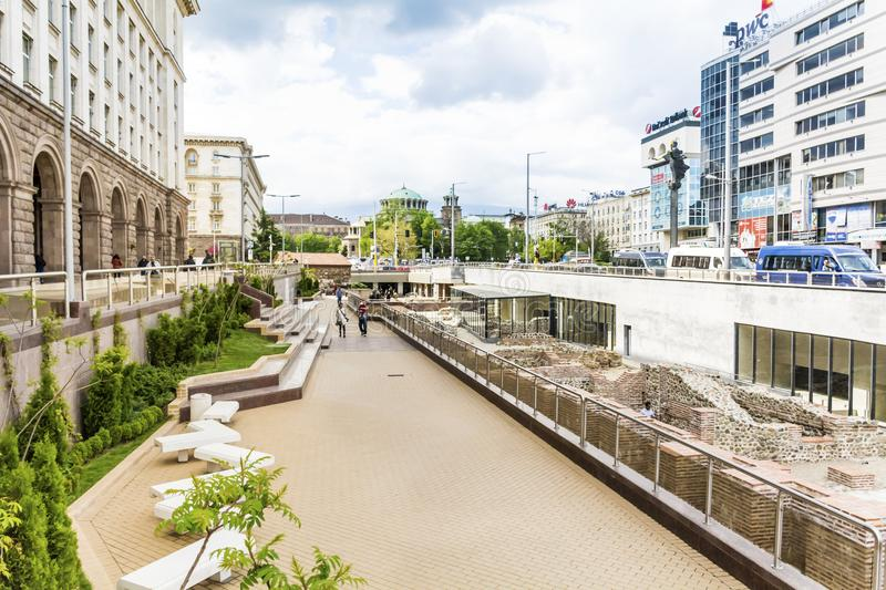 Archeological excavations in the center of the city of Sofia, Bulgaria. SOFIA ,BULGARIA- APRIL 02,18 :The National Archaeological Museum is an archaeological stock photos
