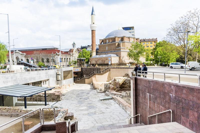 Archeological excavations in the center of the city of Sofia, Bulgaria. SOFIA ,BULGARIA- APRIL 02,18 :The National Archaeological Museum is an archaeological royalty free stock image