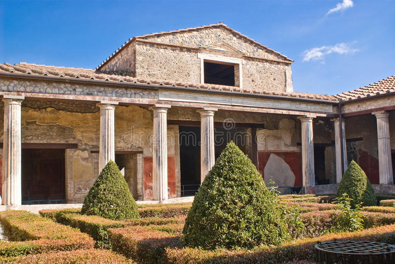 Archeological excavations of Pompeii, Italy. A house in the archeological excavations of Pompeii, Italy stock image