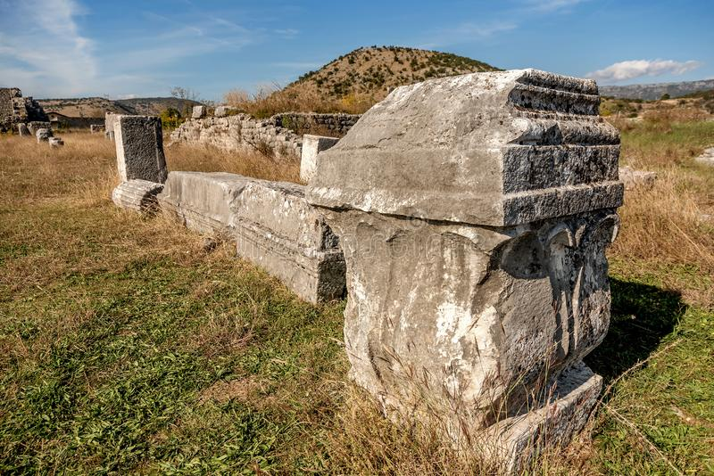 Archeological site of Roman and Byzantine city called Duklja near Podgorica, Montenegro.  royalty free stock images