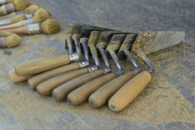 archeological spatulas για τις ανασκαφές στοκ φωτογραφίες